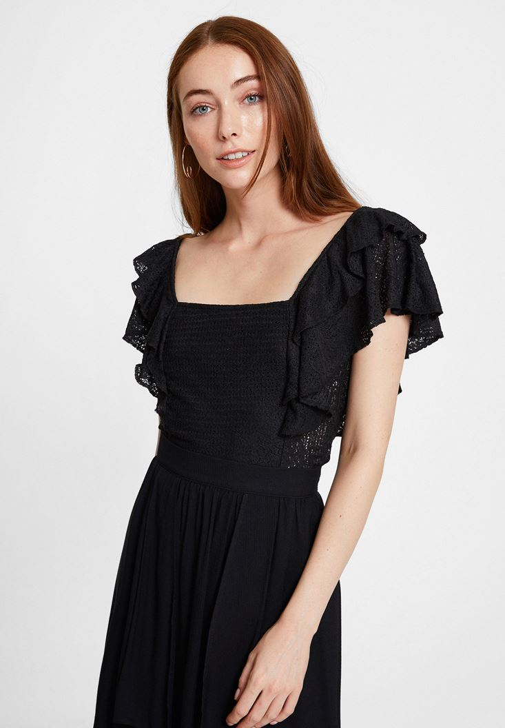 Black Blouse with Ruffle and Lace