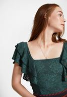Women Green Blouse with Ruffle and Lace