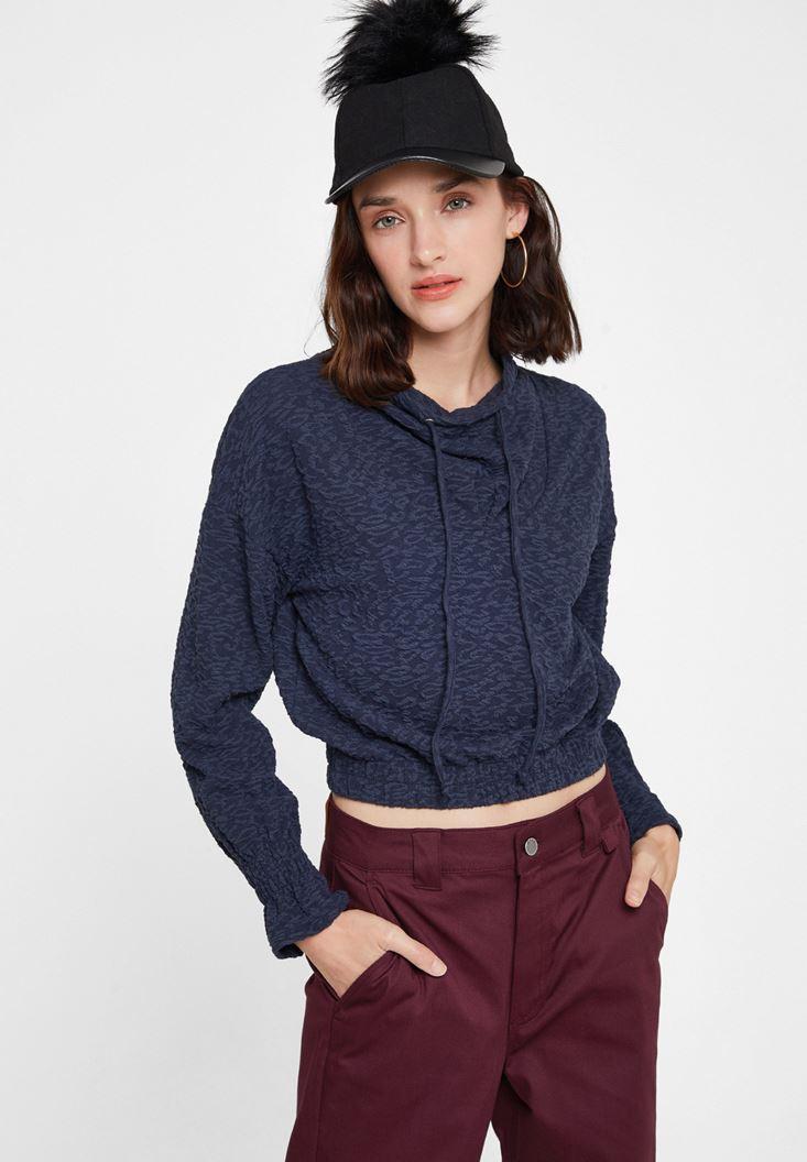 Lacivert Beli Büzgü Detaylı Sweatshirt