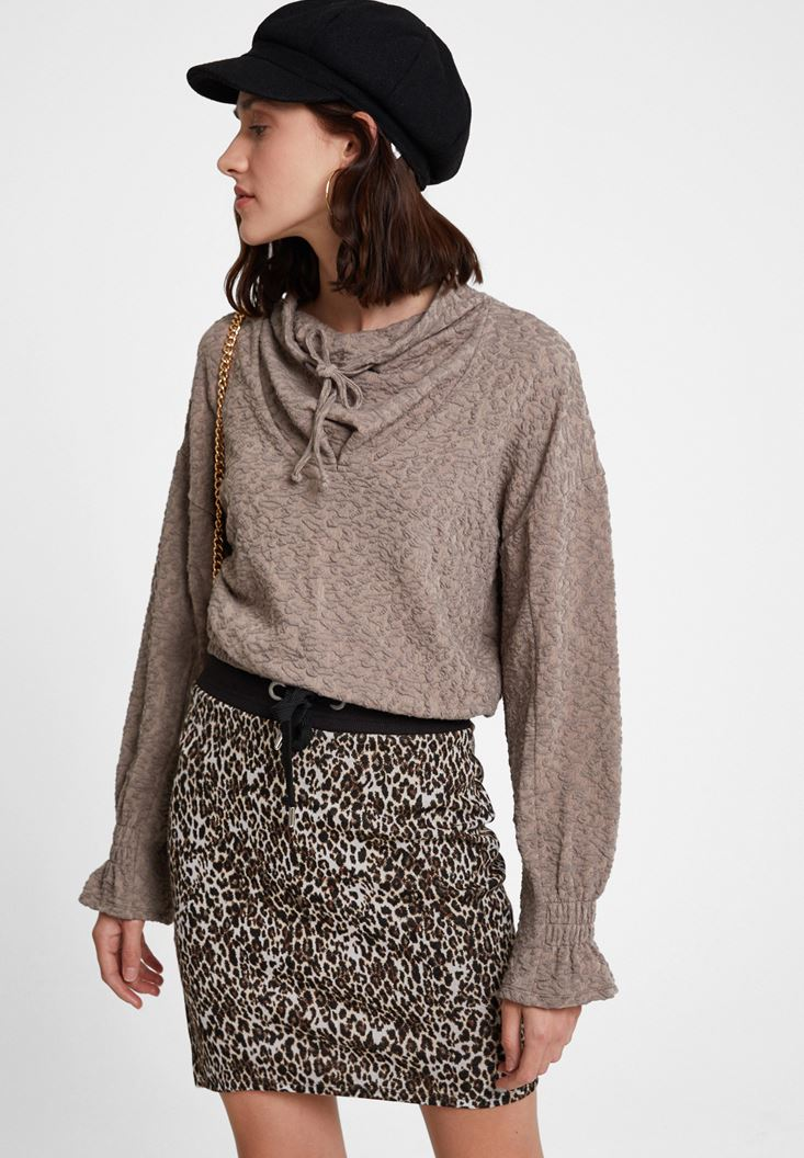 Brown Sweatshirt with Neck Details