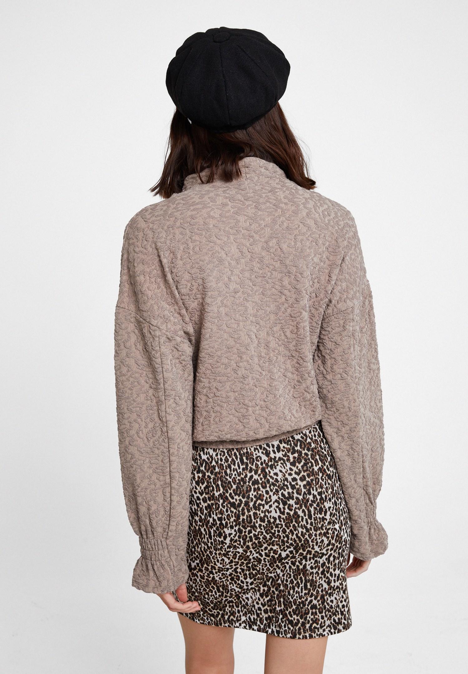 Bayan Kahverengi Beli Büzgü Detaylı Sweatshirt