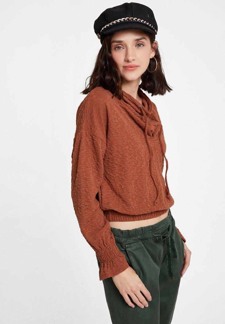 Brown Sweatshirt with Neck Details
