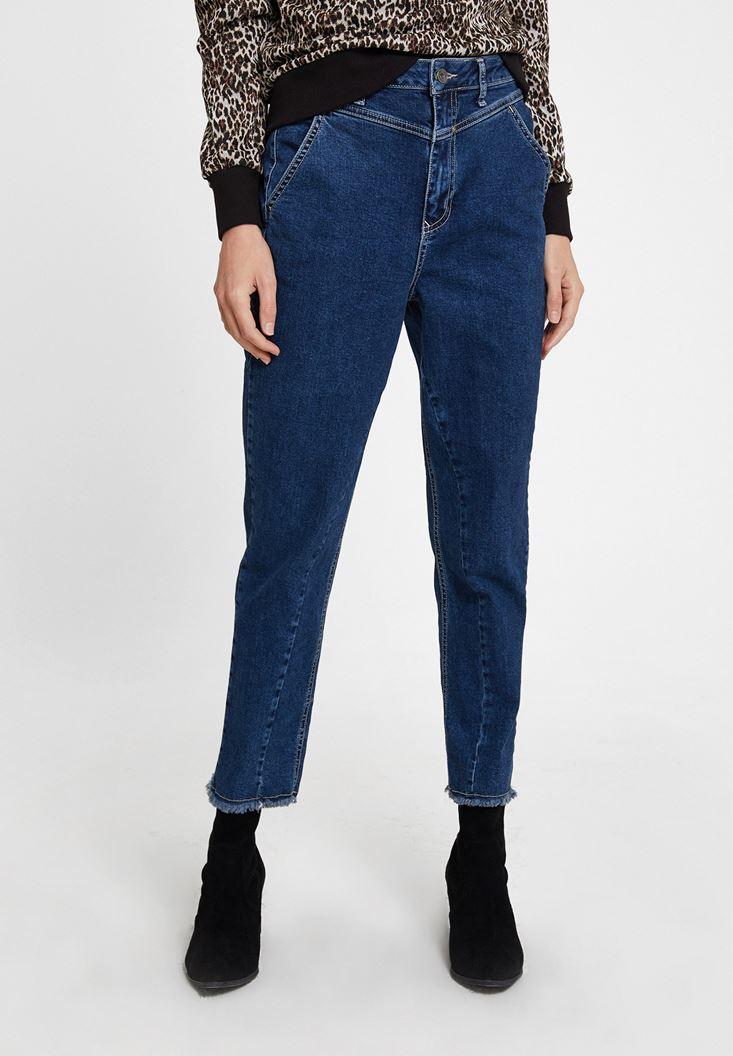 Yüksek Bel Paça Detaylı Denim Pantolon