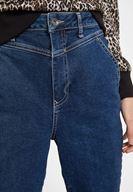 Bayan Mavi Yüksek Bel Paça Detaylı Denim Pantolon