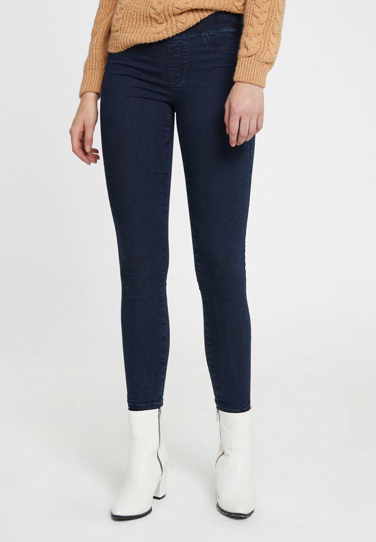 Mavi Lastikli Düşük Bel Tayt Pantolon