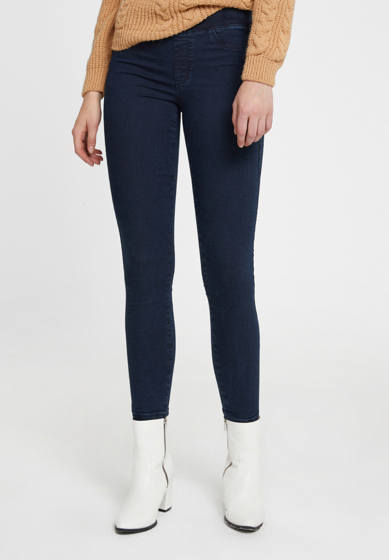 Bayan Mavi Lastikli Orta Bel Tayt Pantolon