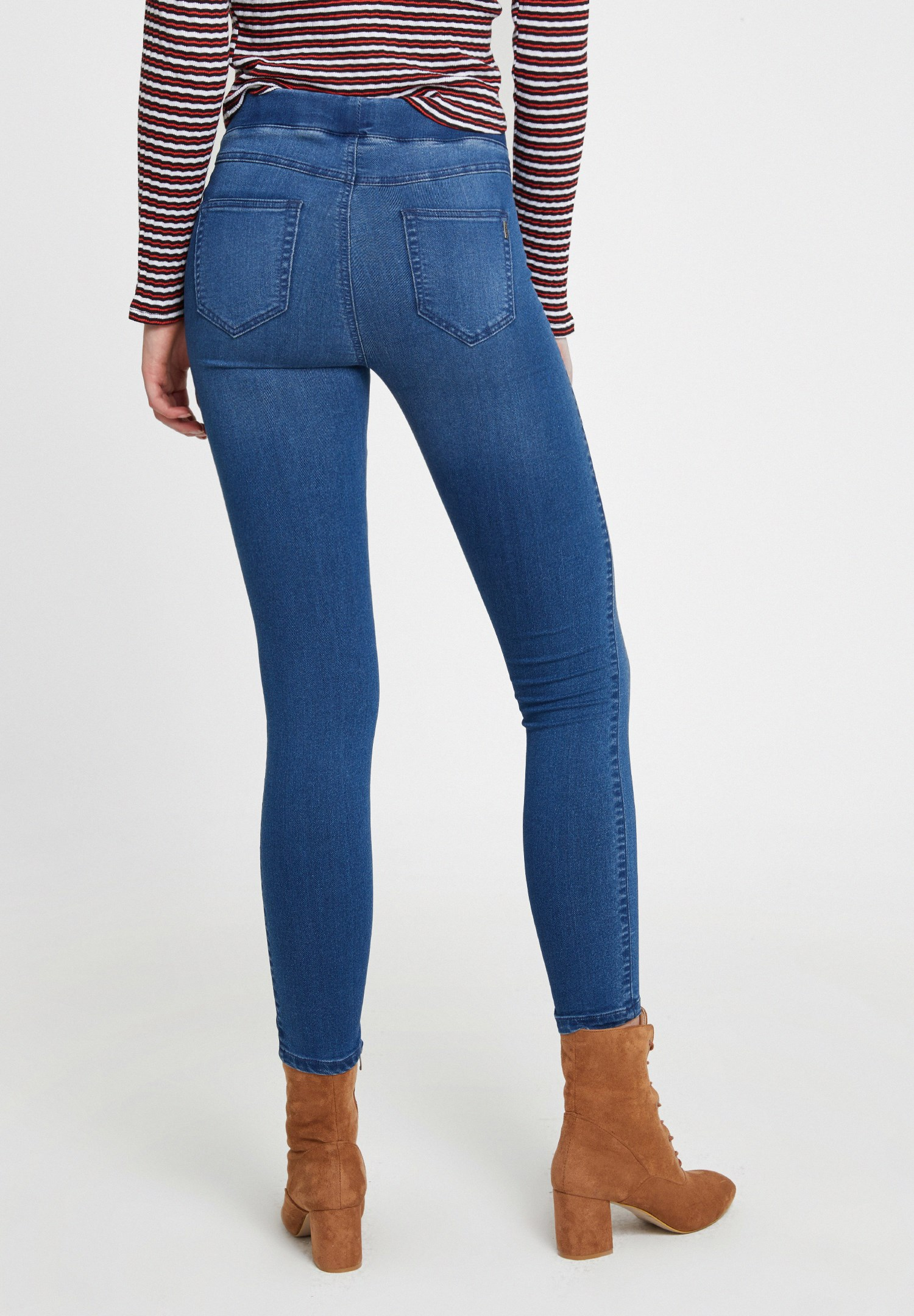 Women Blue Mid Rise Strech Pants