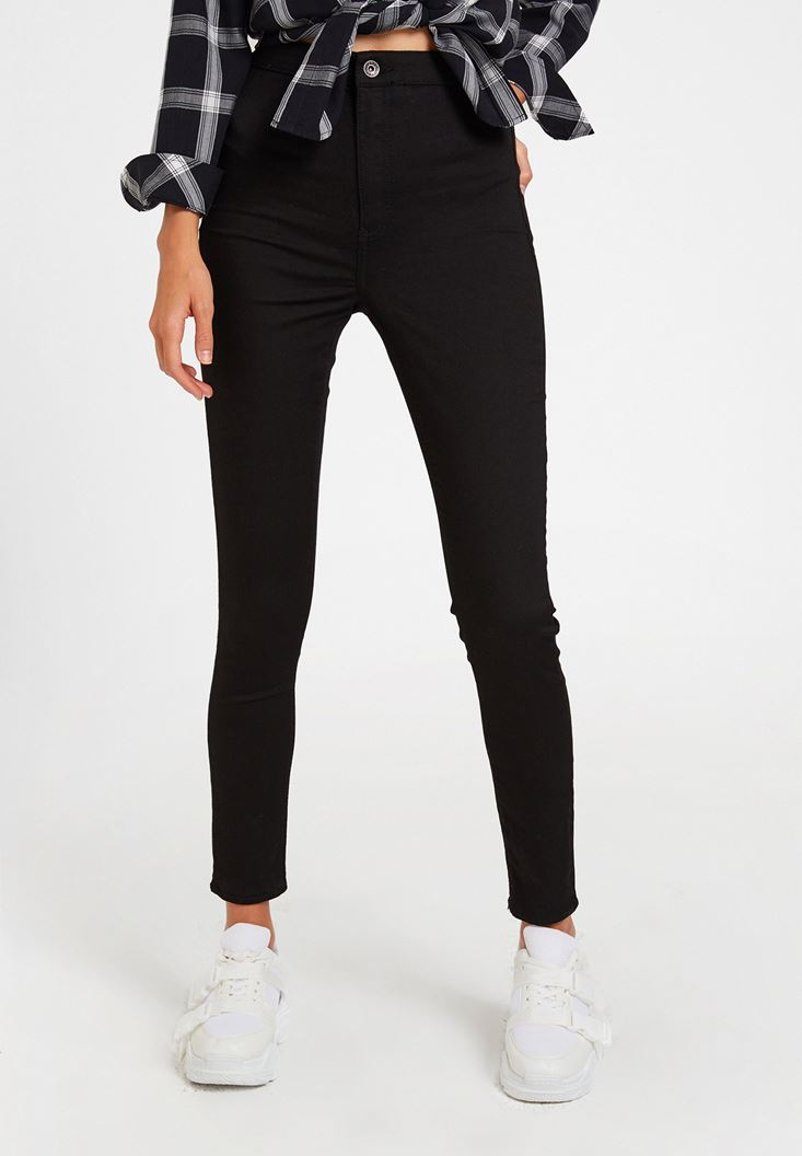 Black High Rise Skinny Trousers