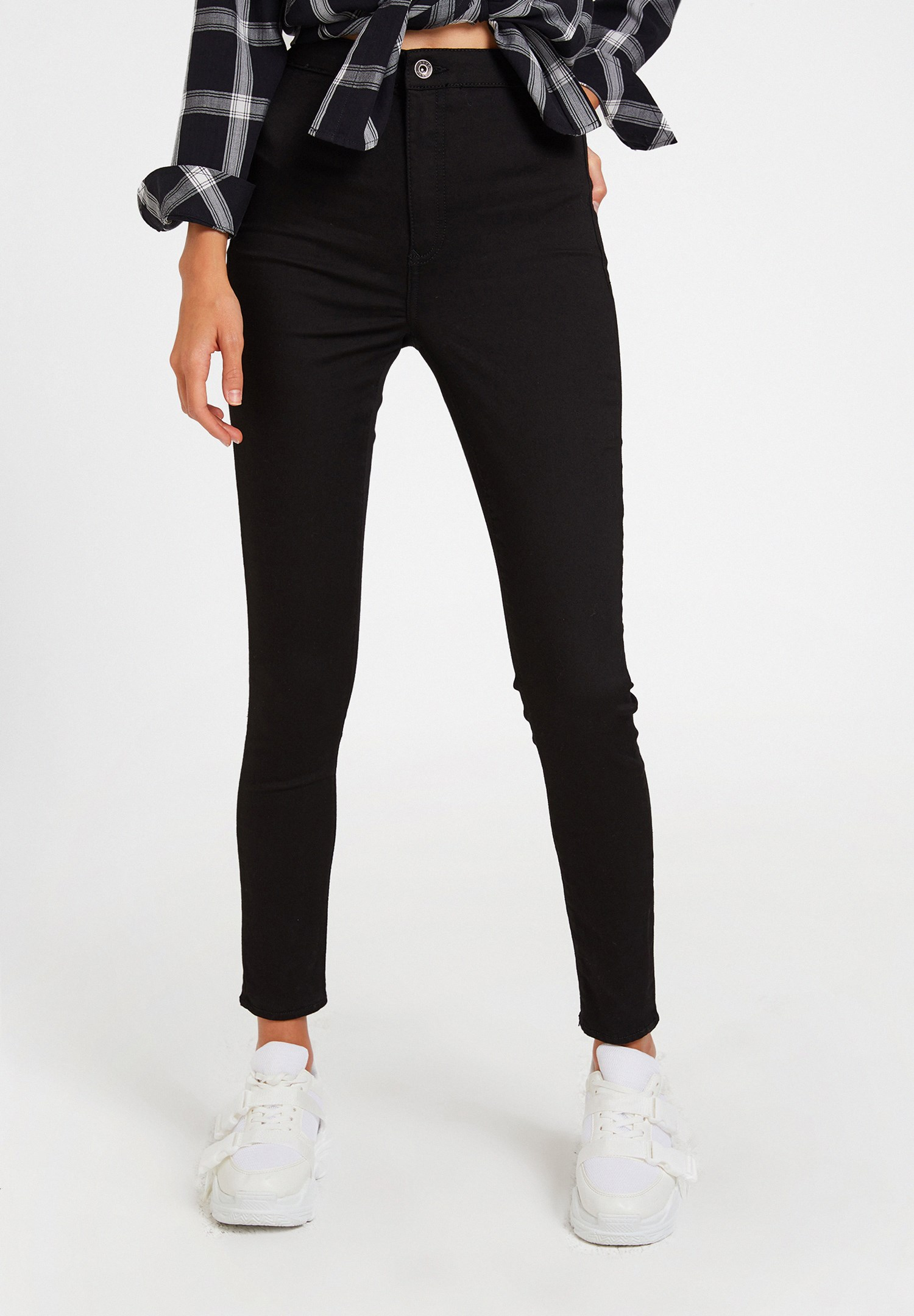 Women Black High Rise Skinny Trousers