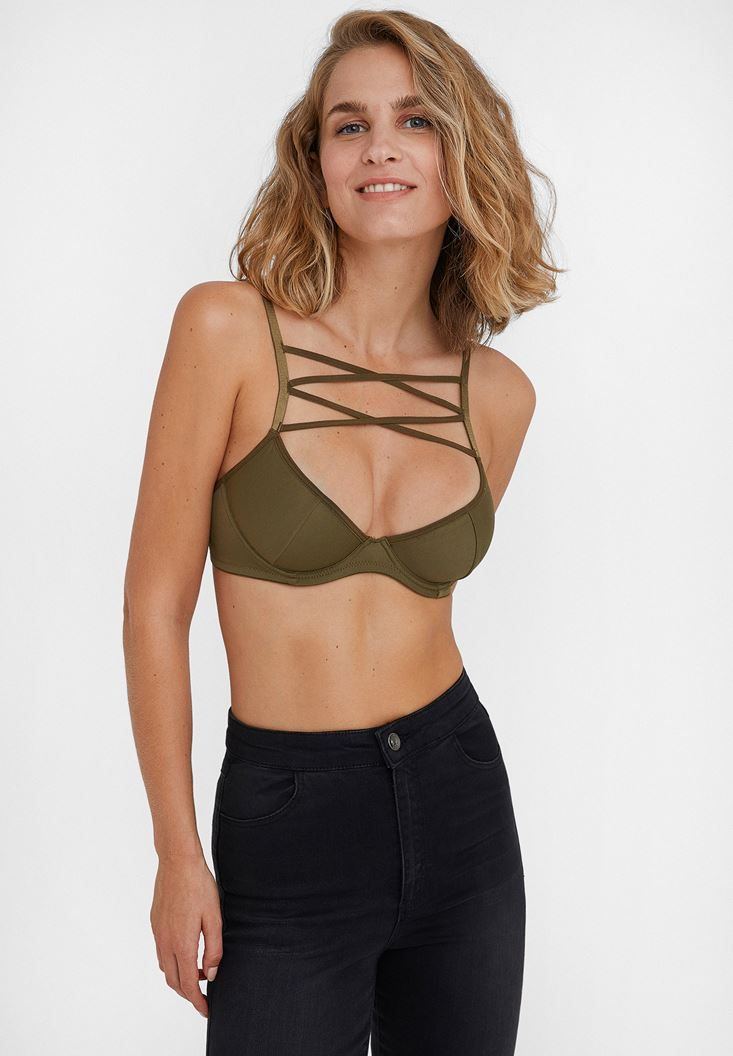 Green Thin Strap Bustier with Details