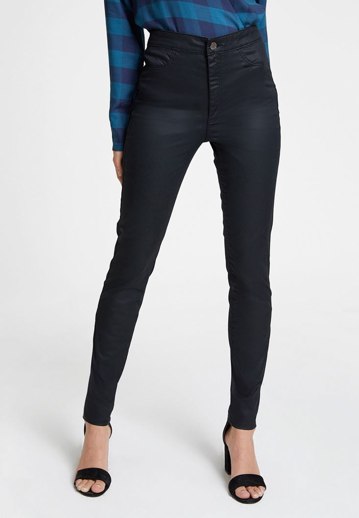 Black High Rise Trousers with Details