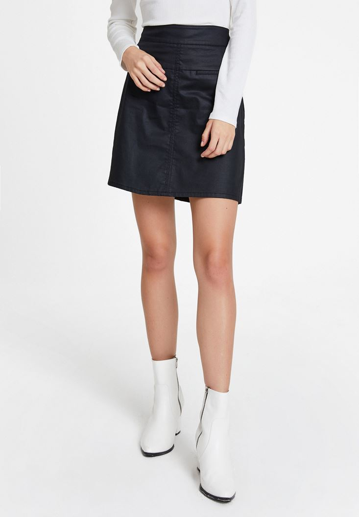 Black High Waist Skirt with Detail