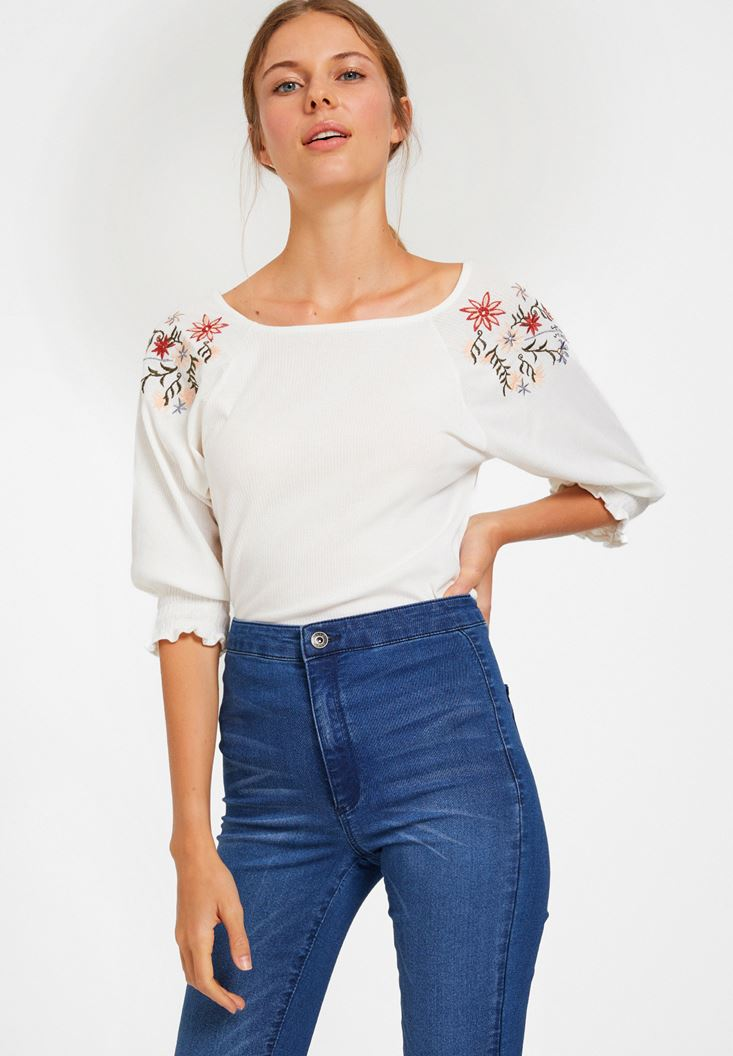 Cream Blouse with Embroidery Detail