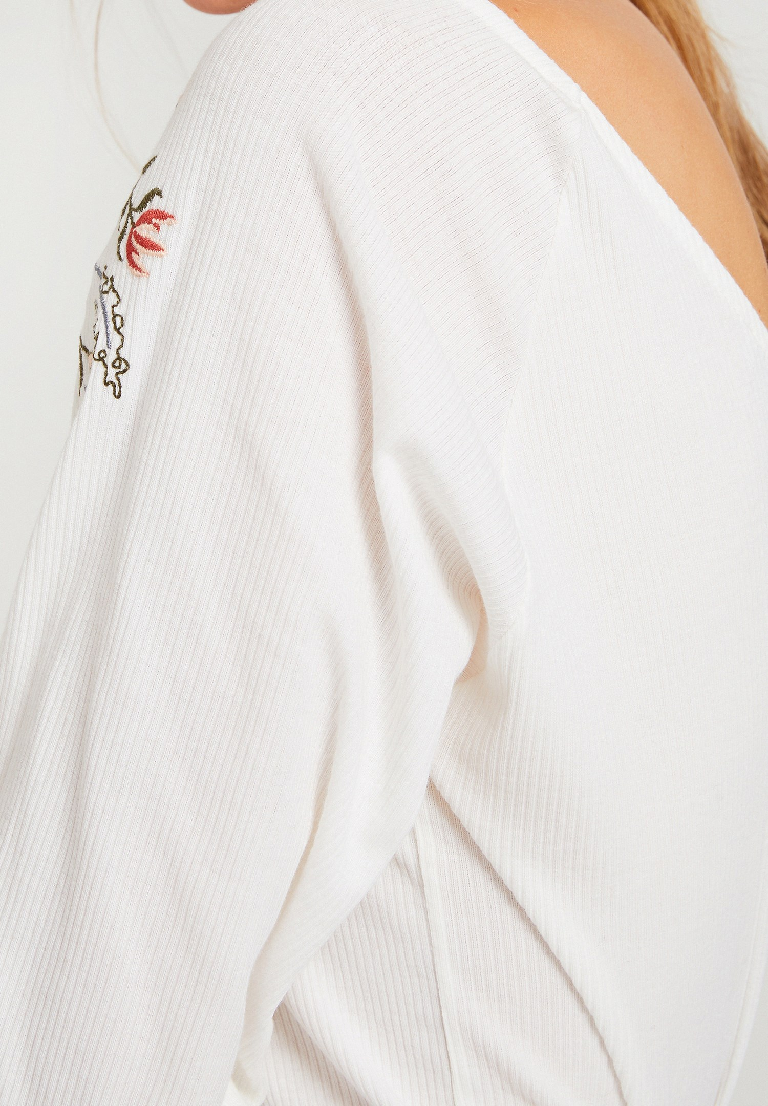 Women Cream Blouse with Embroidery Detail