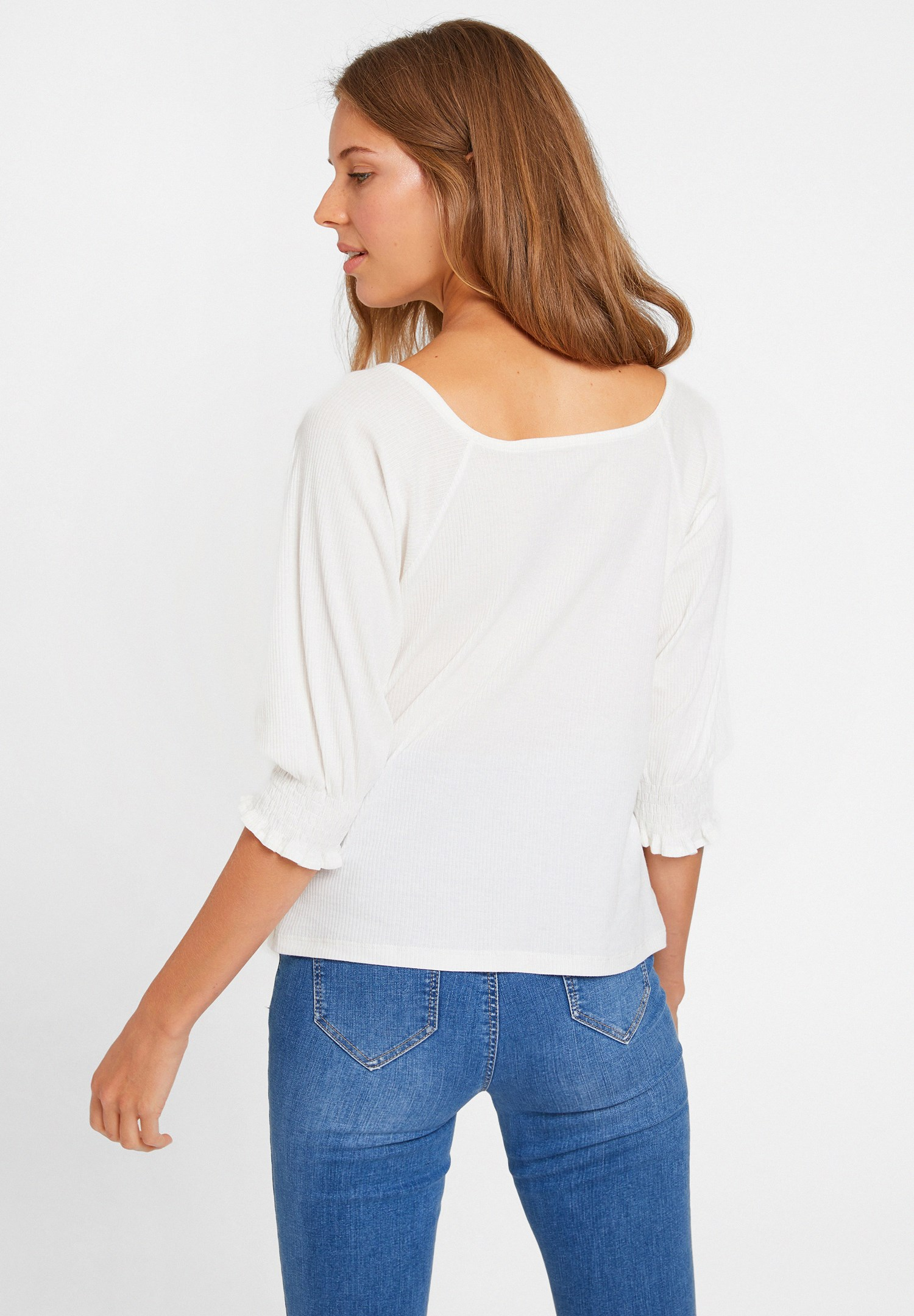 Women Cream V Neck Blouse with Embroidery