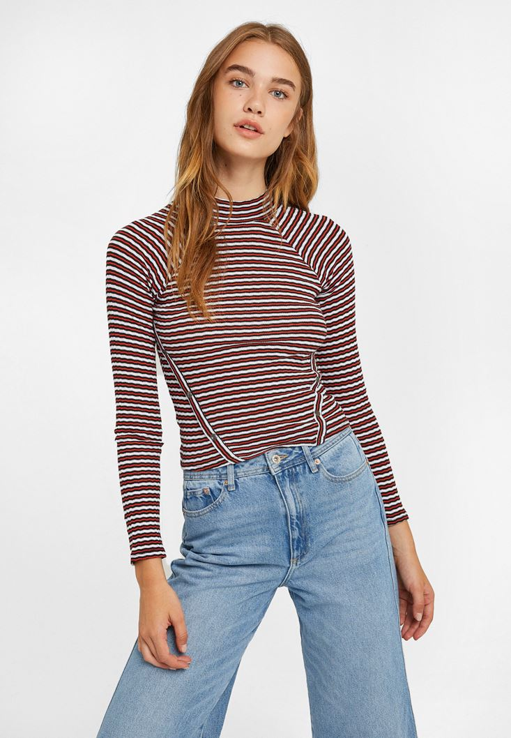 Mixed Long Sleeve Striped Blouse