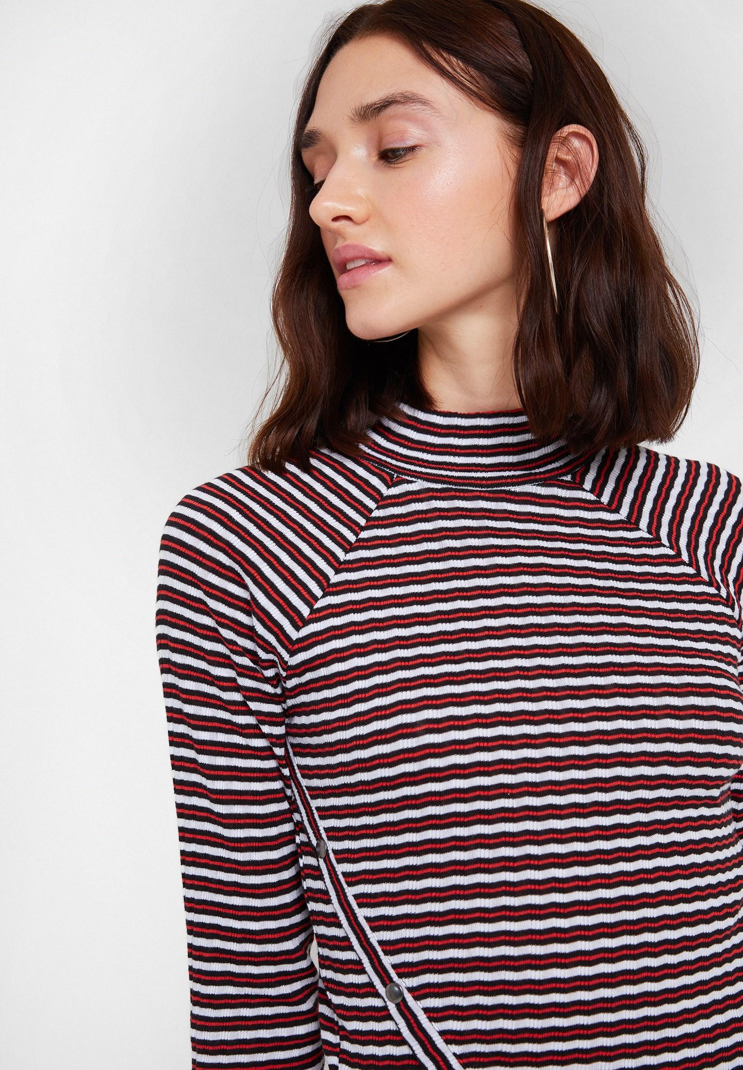 Bayan Çok Renkli Uzun Kollu Çizgili Bluz