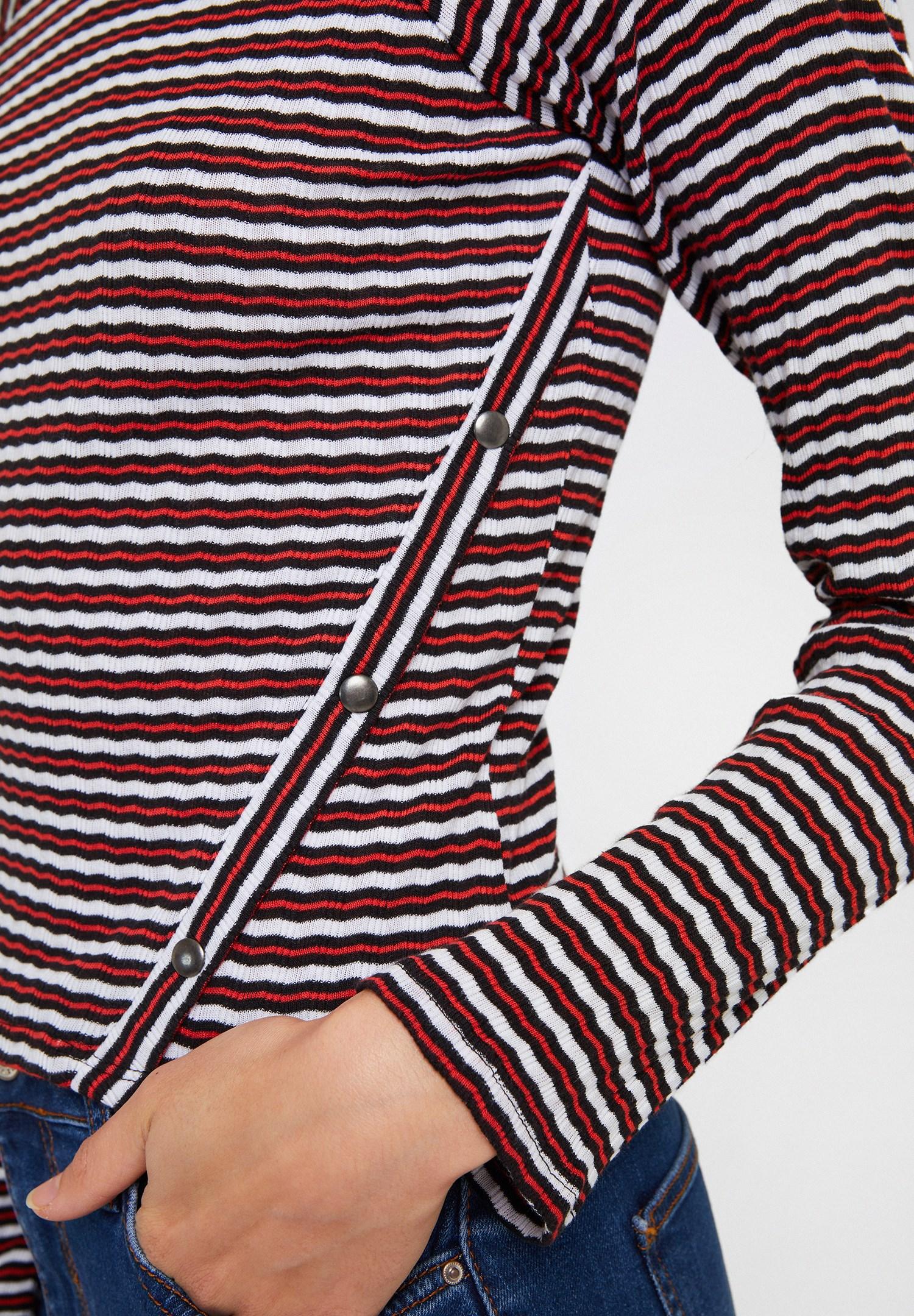 Women Mixed Long Sleeve Striped Blouse