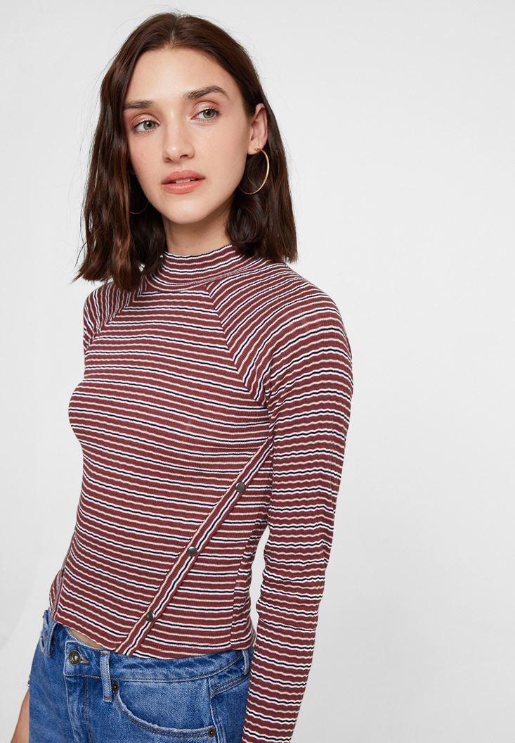Çok Renkli Çizgi Desenli Uzun Kollu Bluz