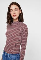Women Mixed Long Sleeve Blouse with Stripe