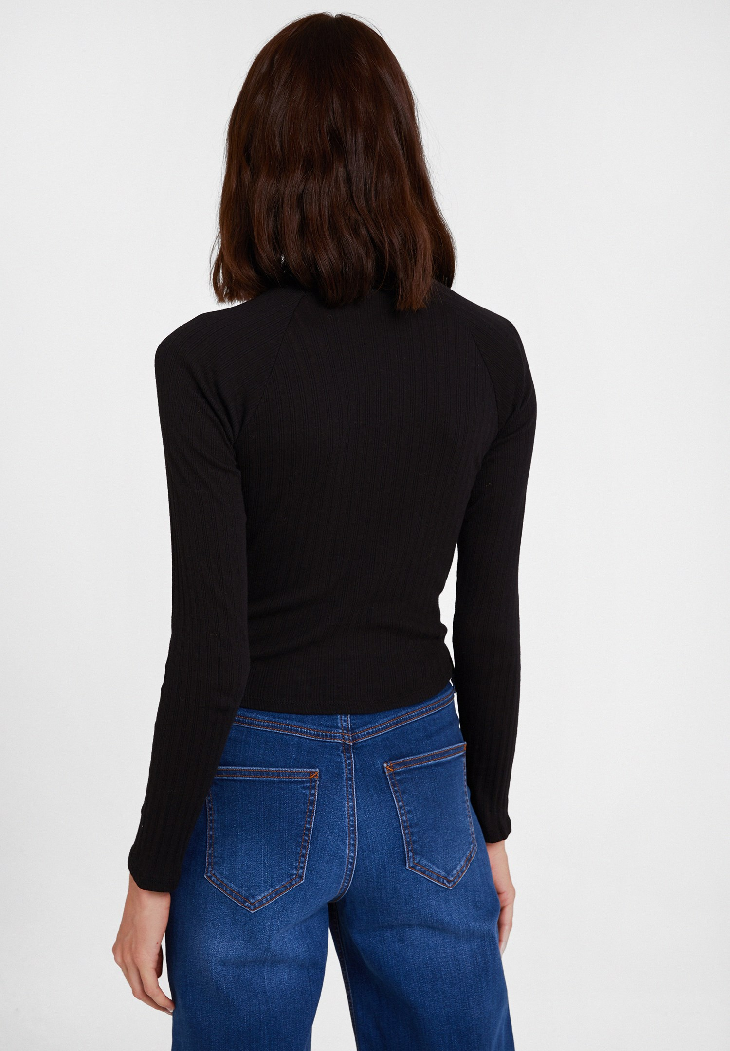 Bayan Siyah Yaka Detaylı Uzun Kollu Bluz