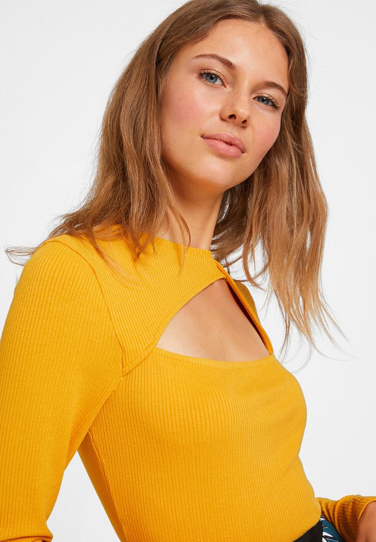 Orange Blouse with Cut Out Detail