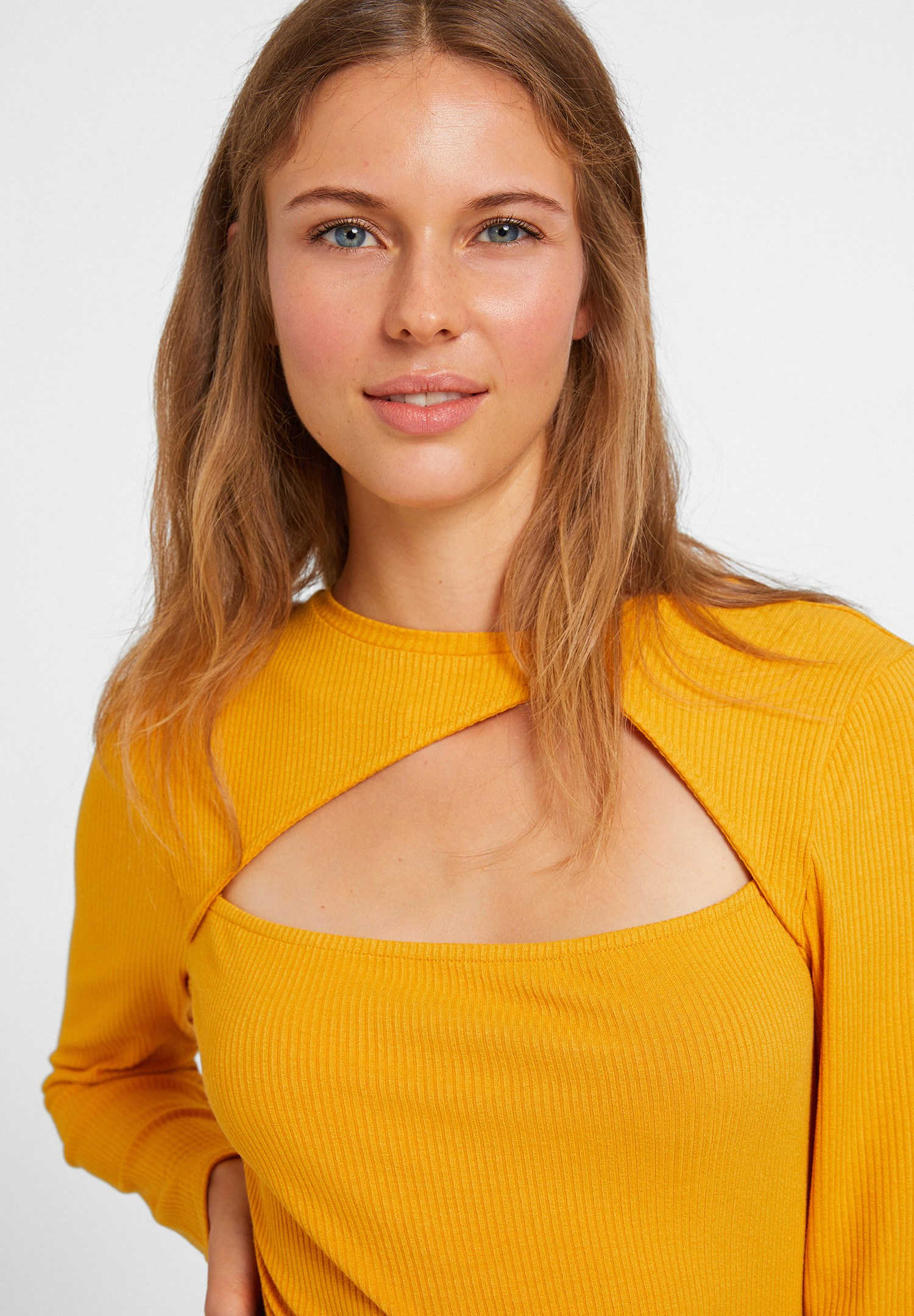 Women Orange Blouse with Cut Out Detail