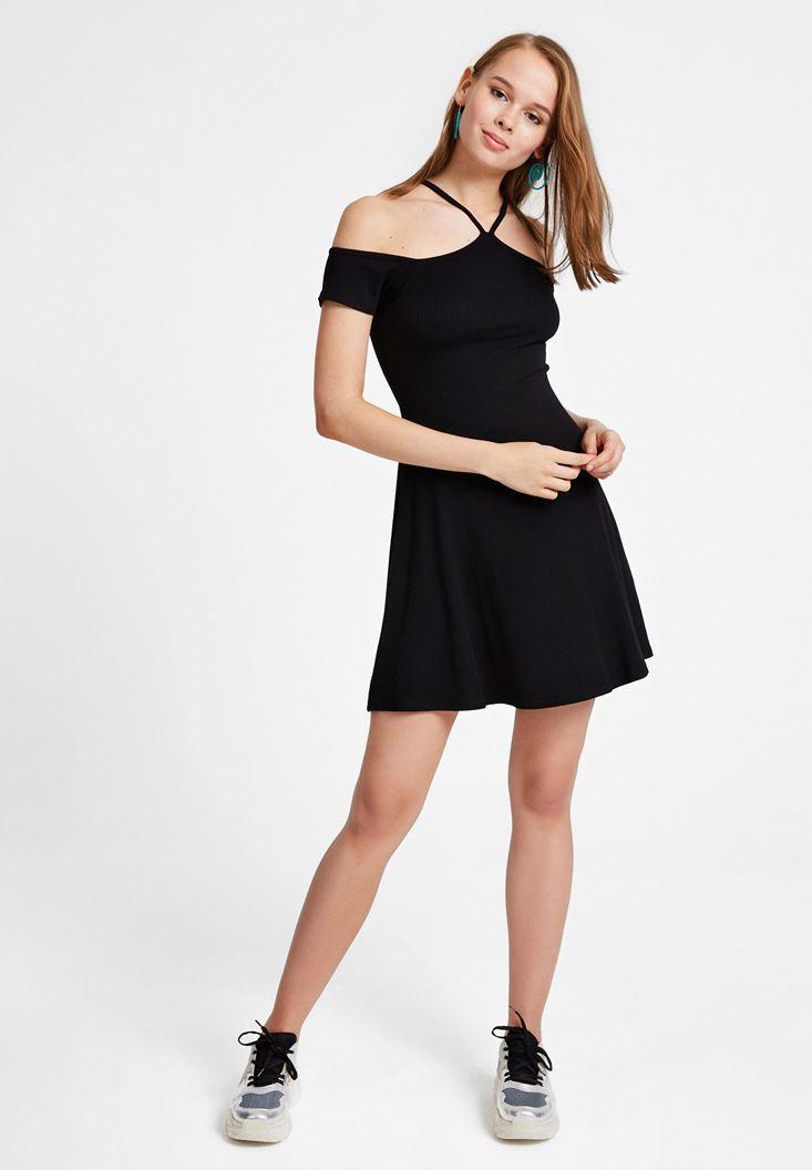Siyah Biye Detaylı Mini Elbise