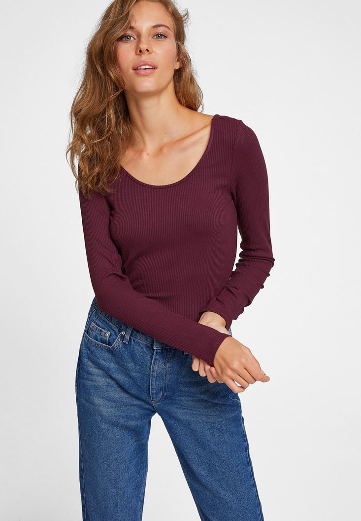 Bordeaux Ribbed T-shirt