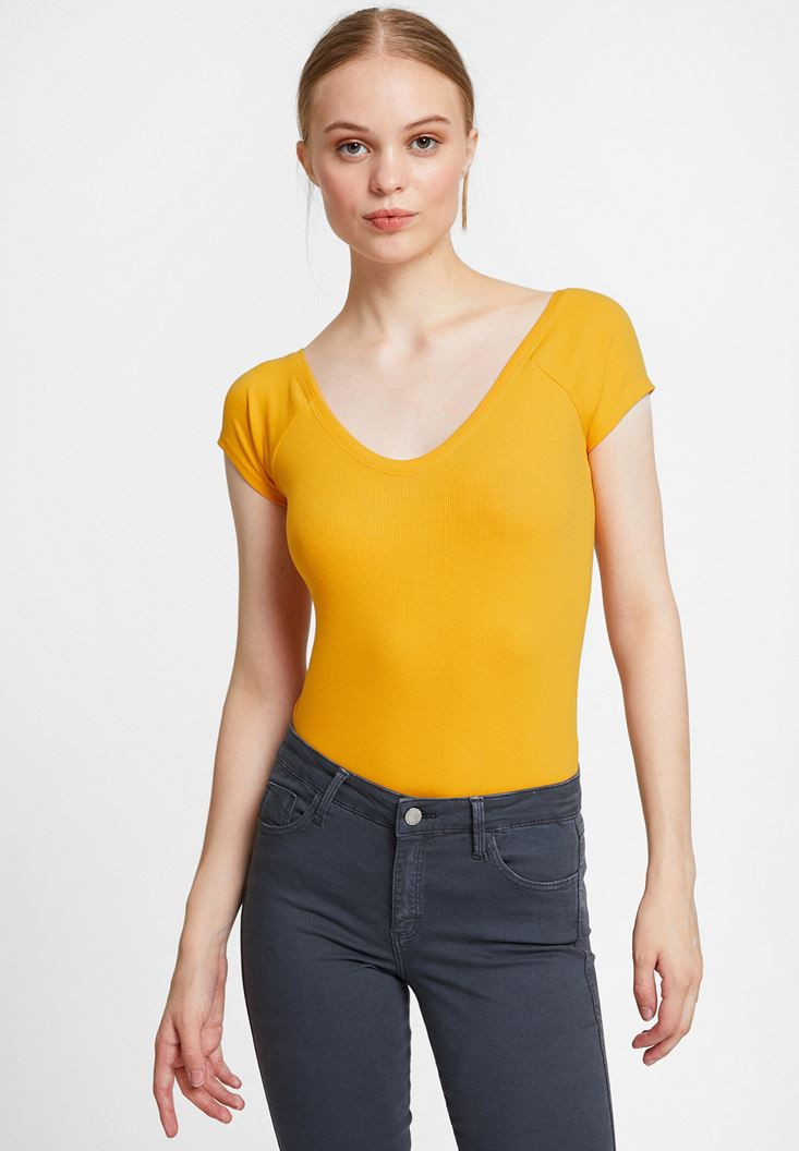 Orange Half Sleeve Basic with V Neck