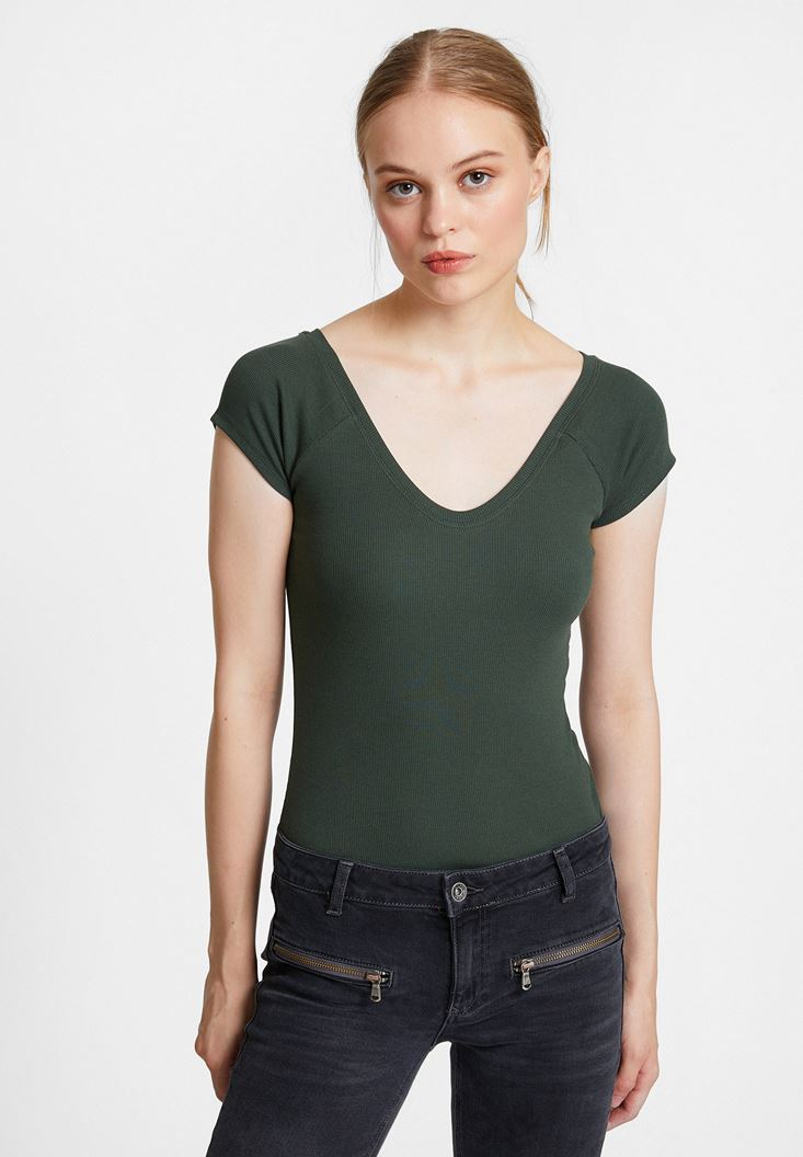 Green Half Sleeve Basic with V Neck
