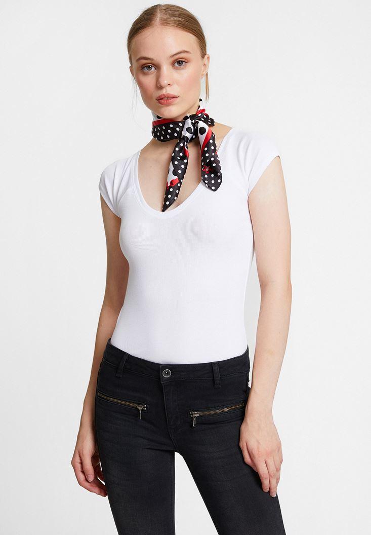 White Half Sleeve Basic with V Neck