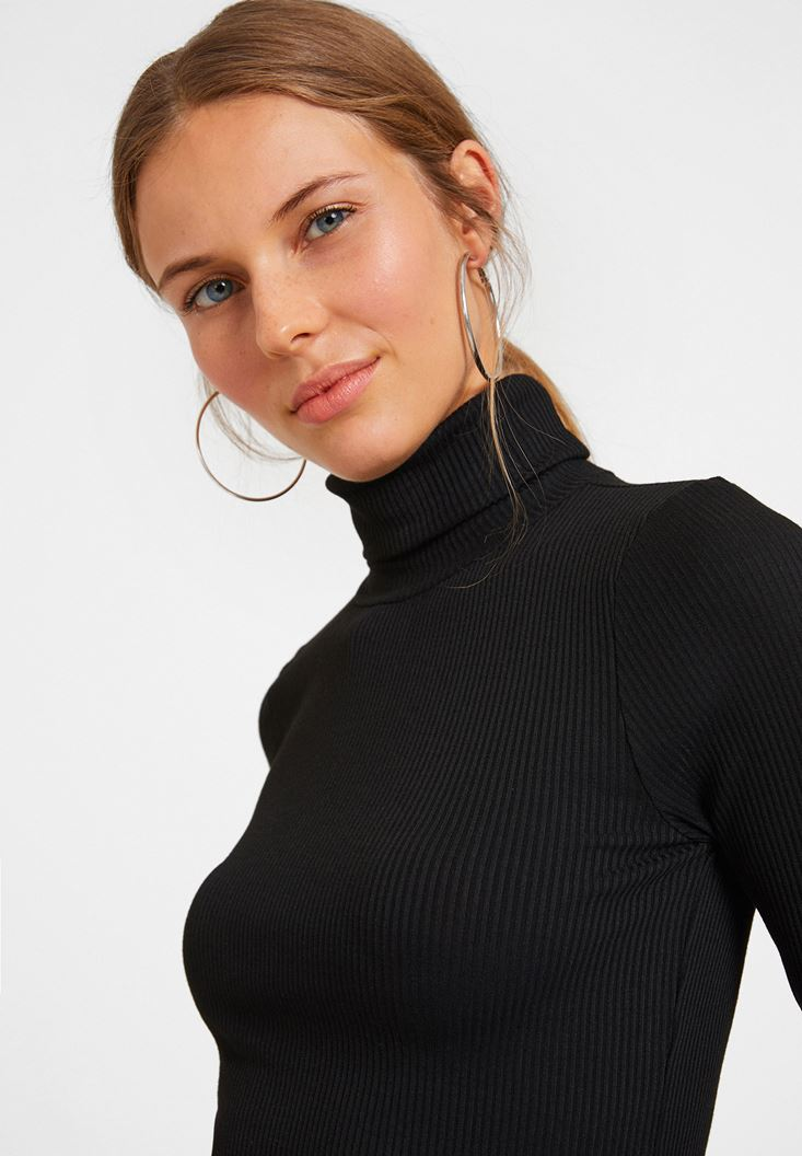 Black Long Sleeve Basic Knitwear with Details