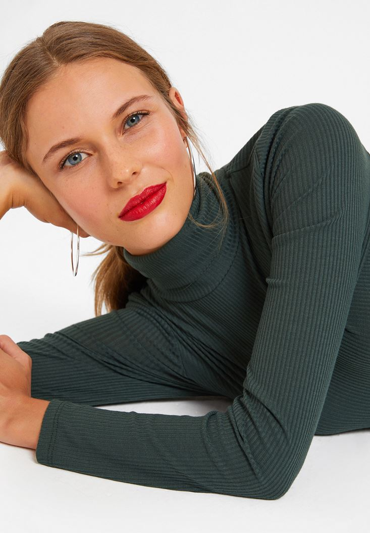 Green Long Sleeve Basic Knitwear with Details