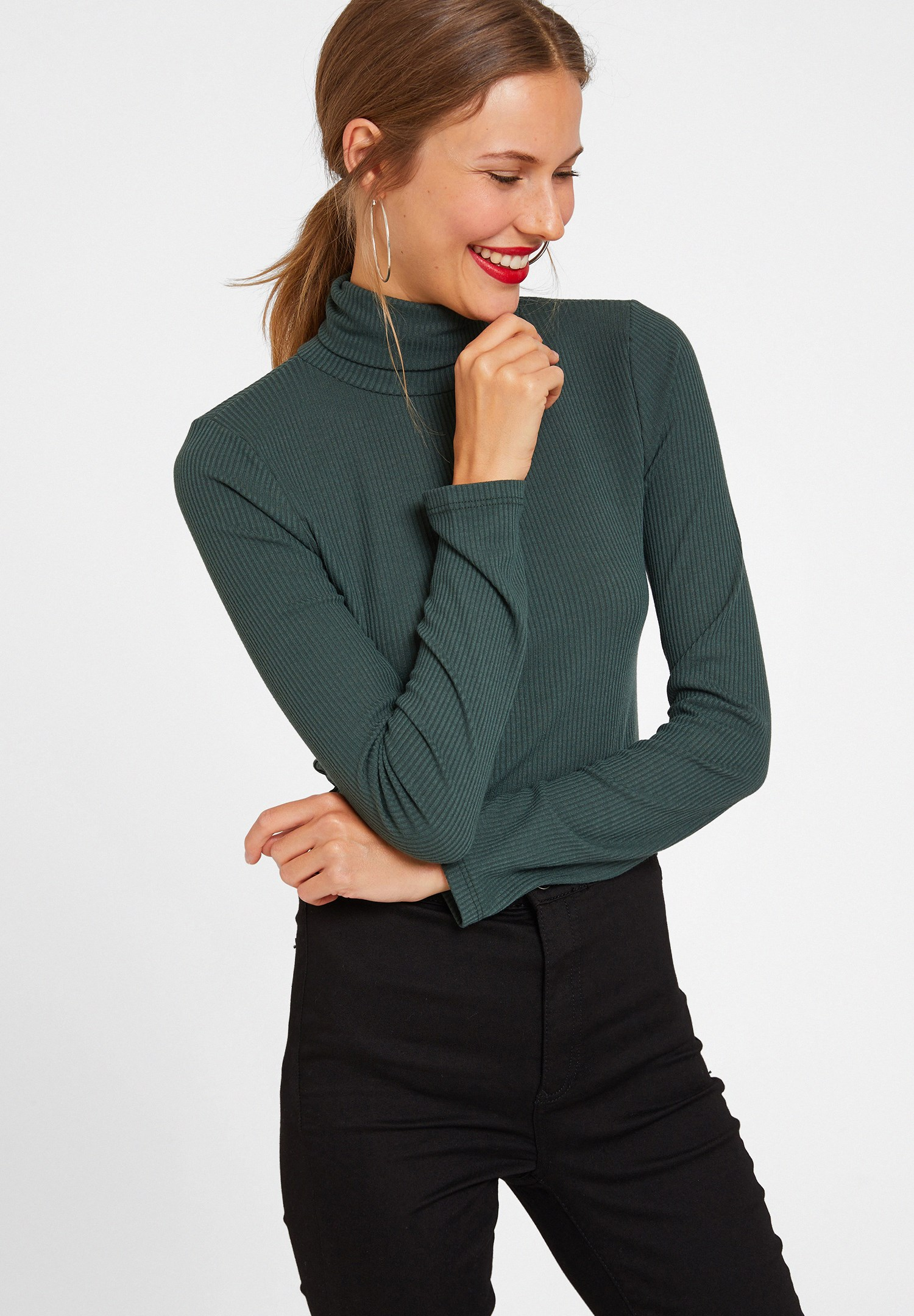 Bayan Yeşil Boğazlı Uzun Kol Detaylı Triko