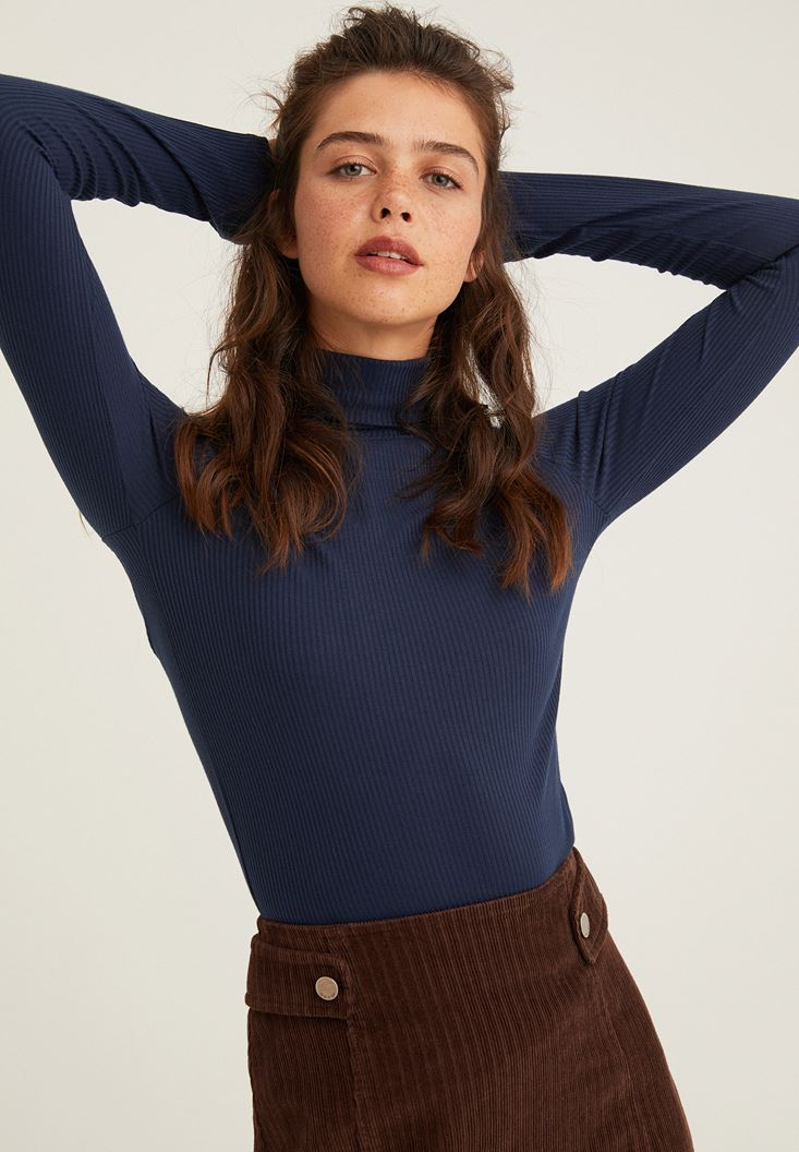 Navy Long Sleeve Basic Knitwear with Details