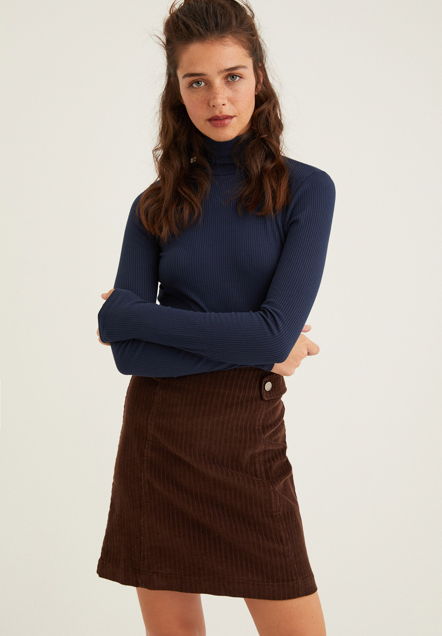 Women Navy Long Sleeve Basic Knitwear with Details