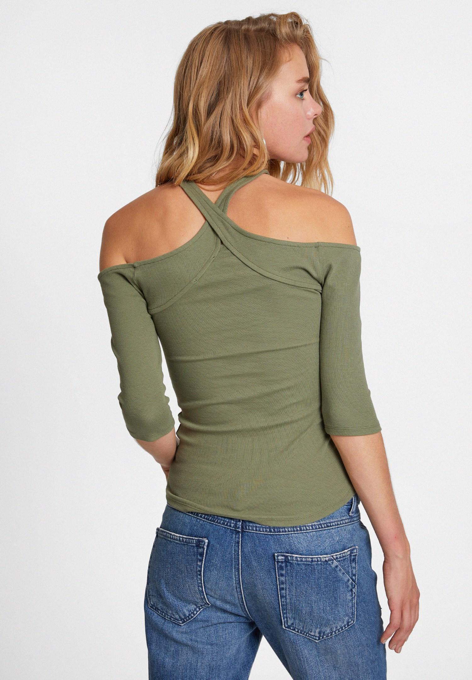 Bayan Yeşil Yakası Çapraz Biye Detaylı Bluz