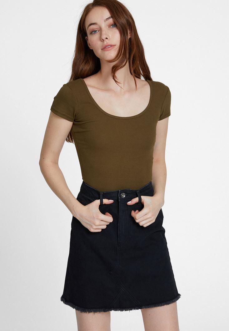Yeşil Basic U Yaka Tişört