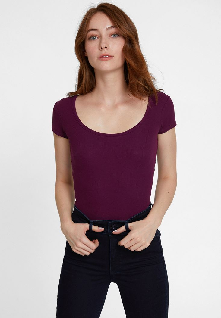 Purple Basic U Neck T-shirt