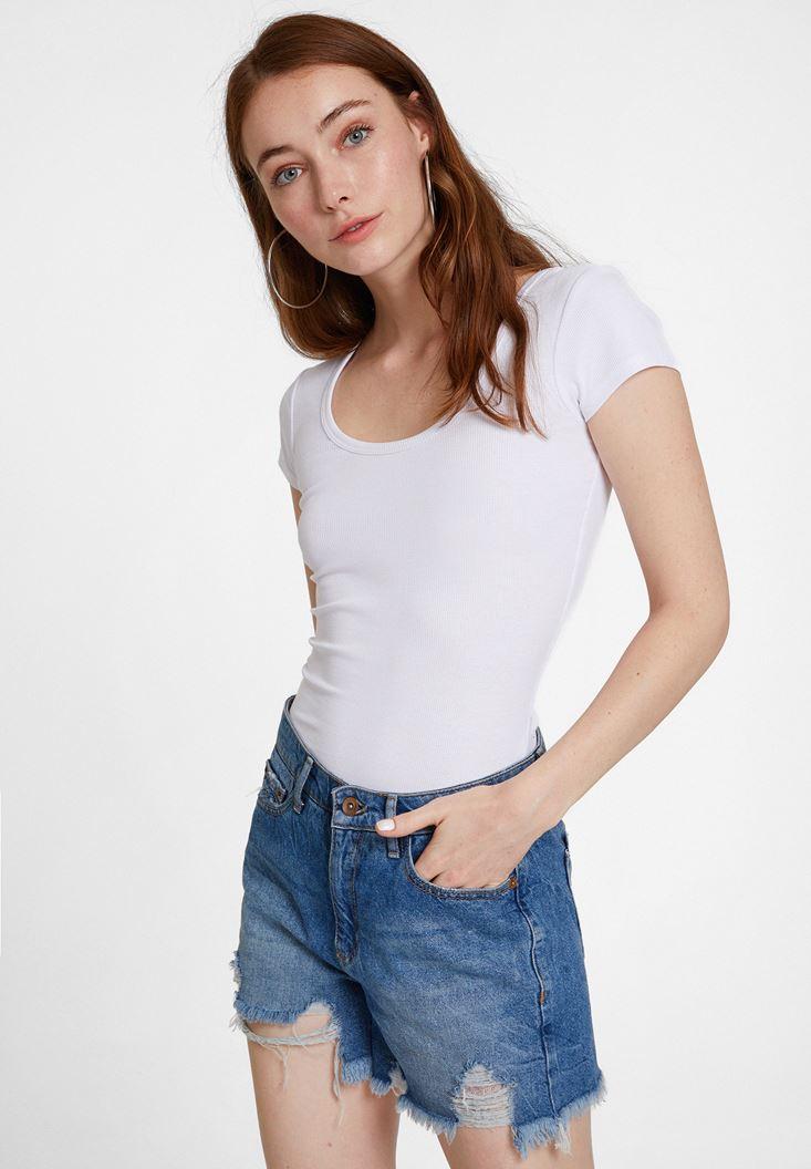 Beyaz Basic U Yaka Tişört
