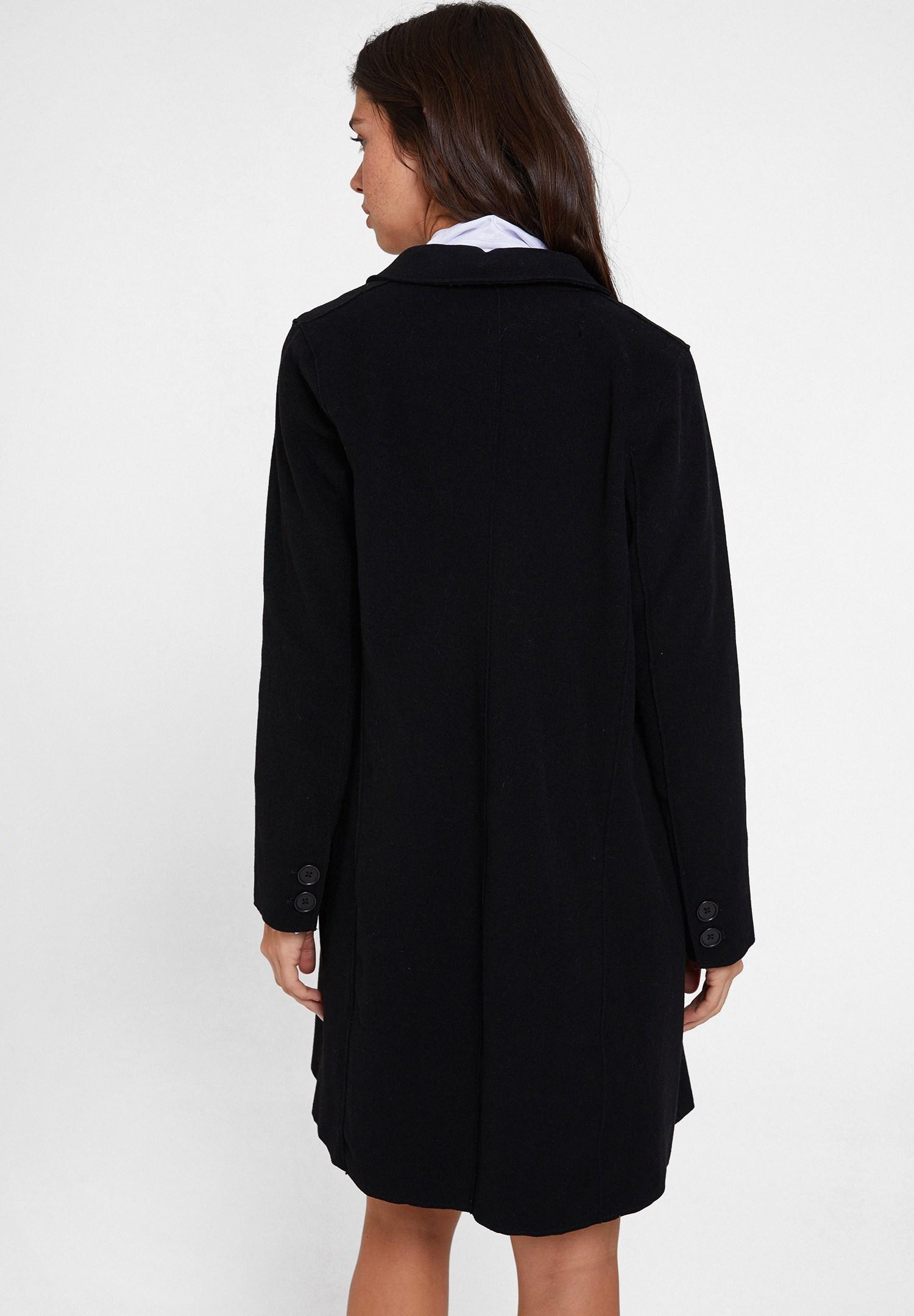 Women Black Cashmere Overcoat