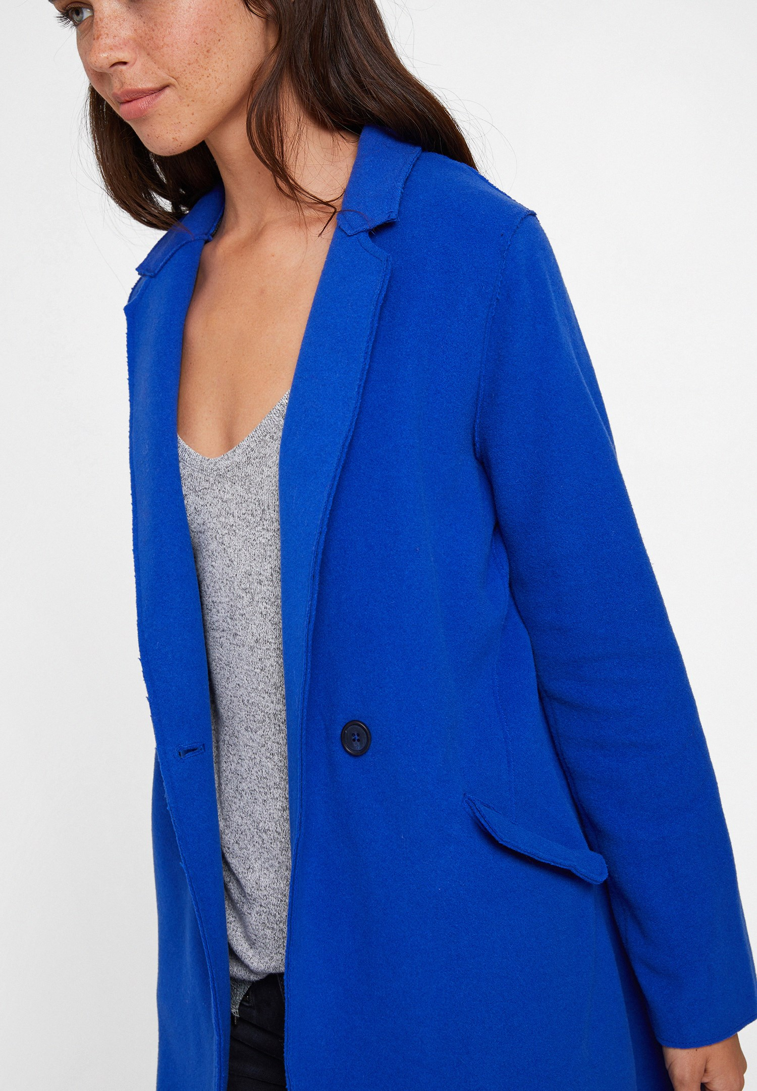 Women Navy Cashmere Overcoat
