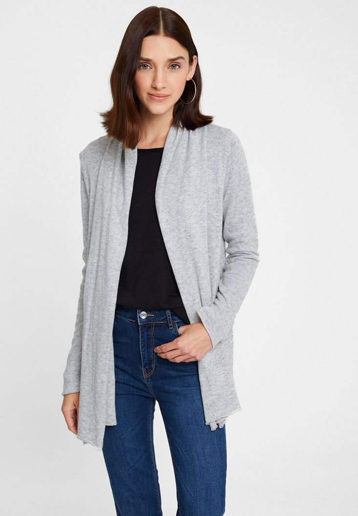Grey Long Sleeve Cashmere Cardigan