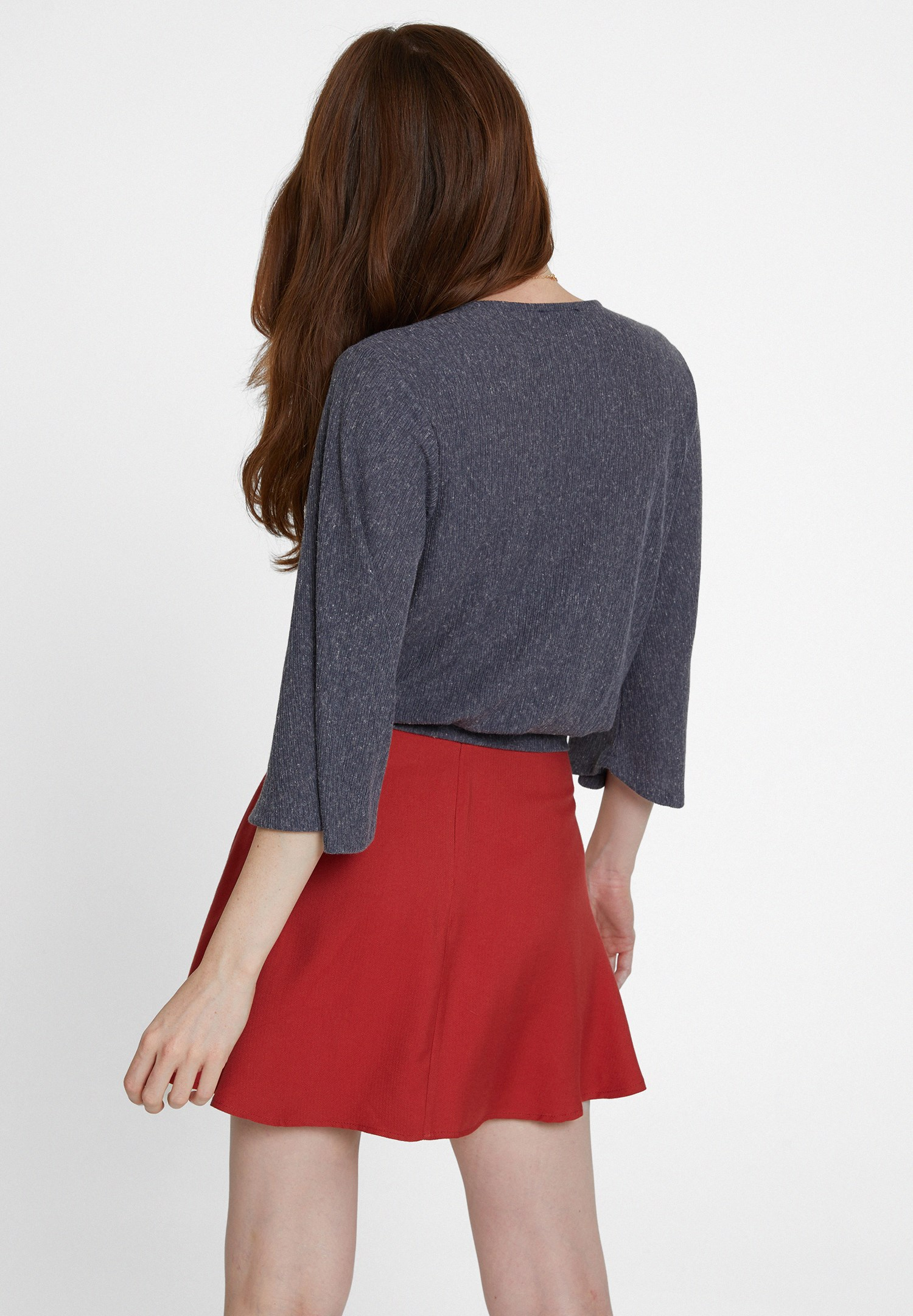 Women Grey Long Sleeve Blouse with Buttons