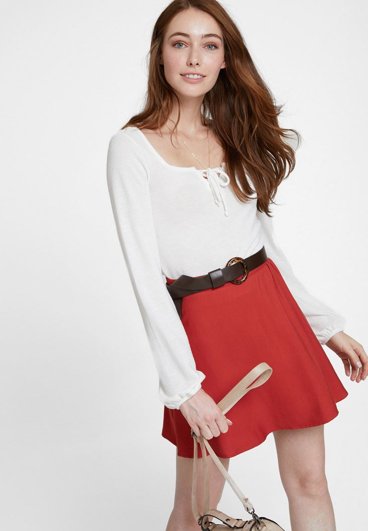 Cream Long Sleeve Blouse with Neck