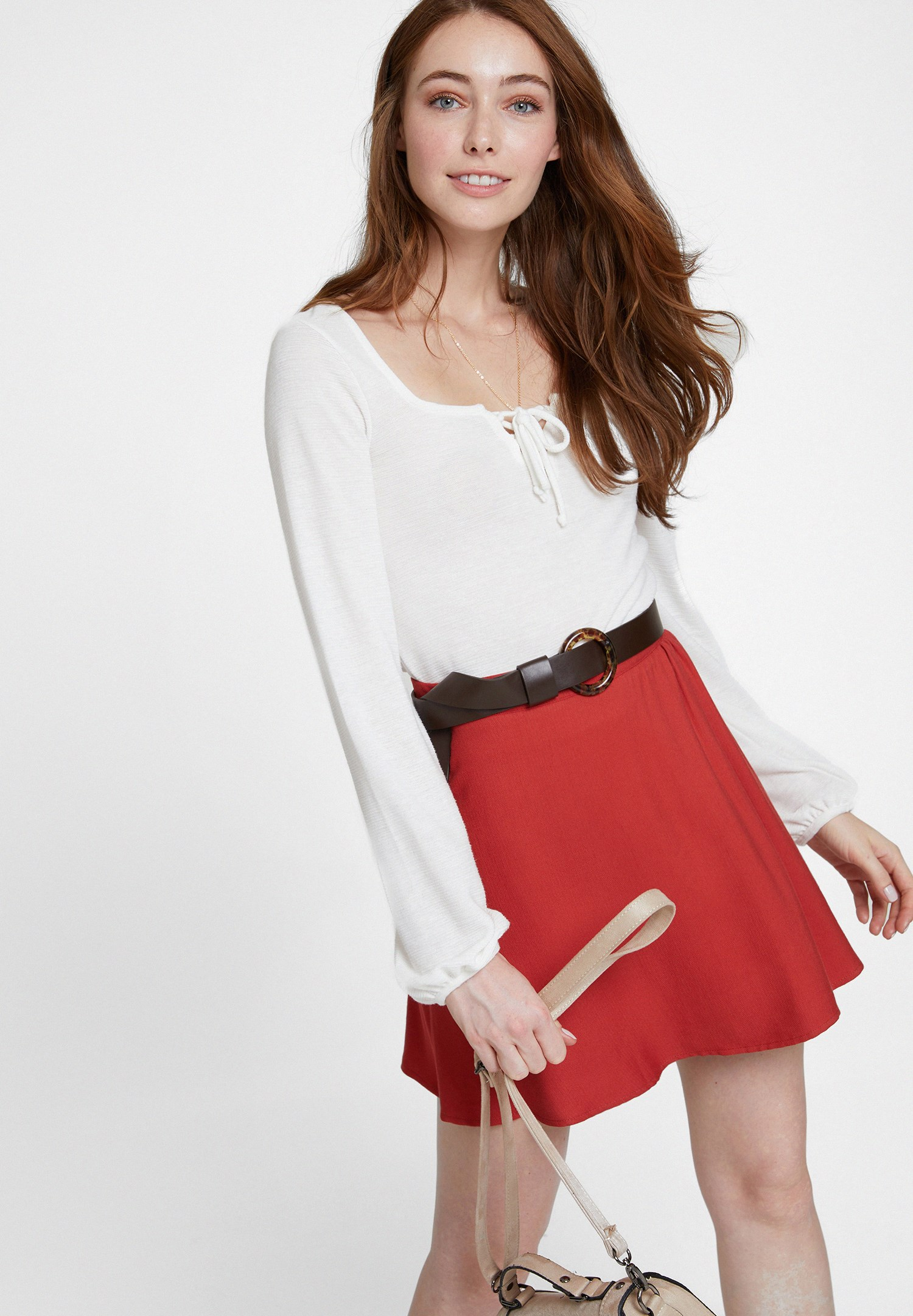 Women Cream Long Sleeve Blouse with Neck