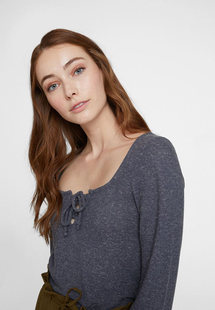 Grey Long Sleeve Blouse with Neck