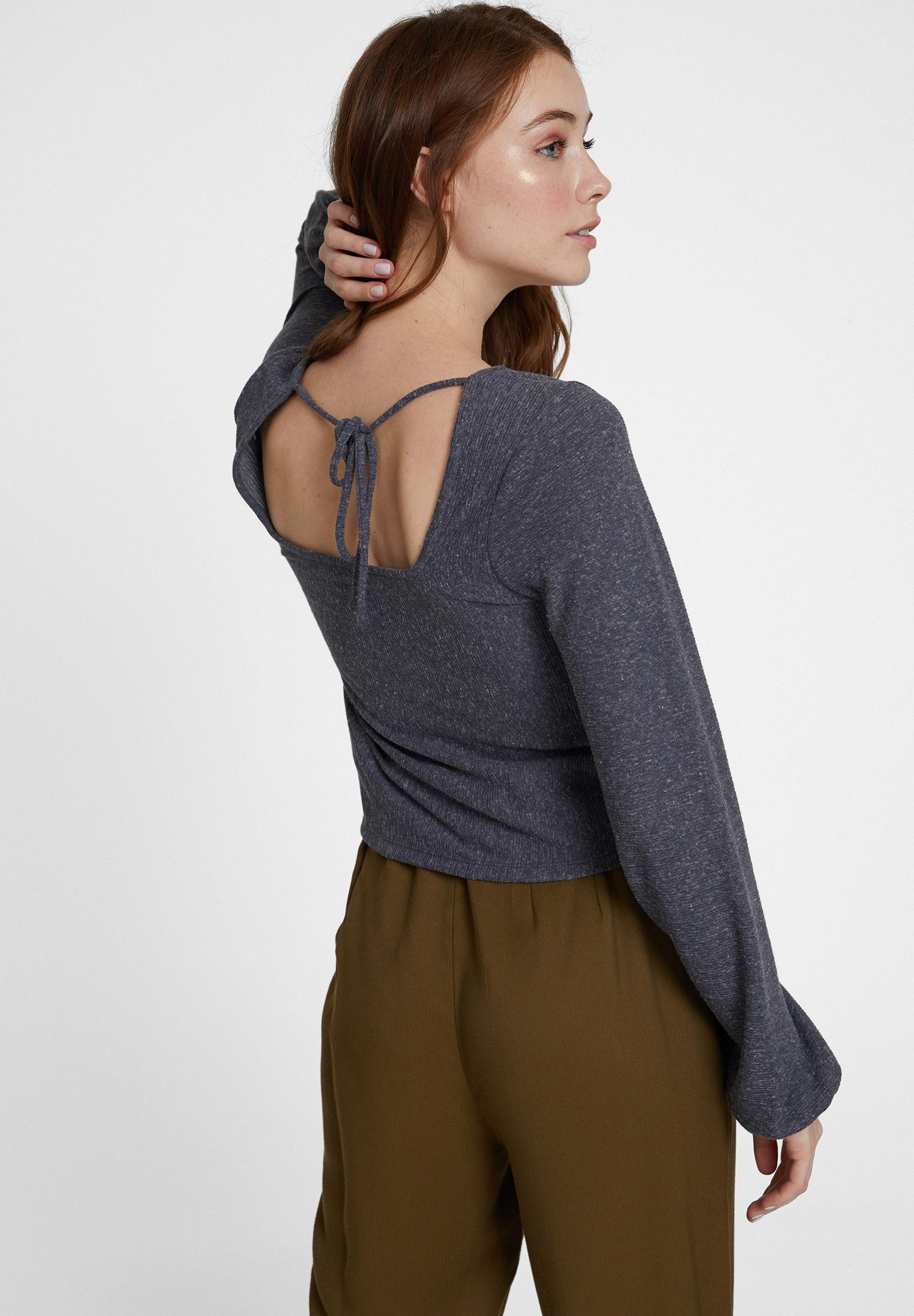 Women Grey Long Sleeve Blouse with Neck