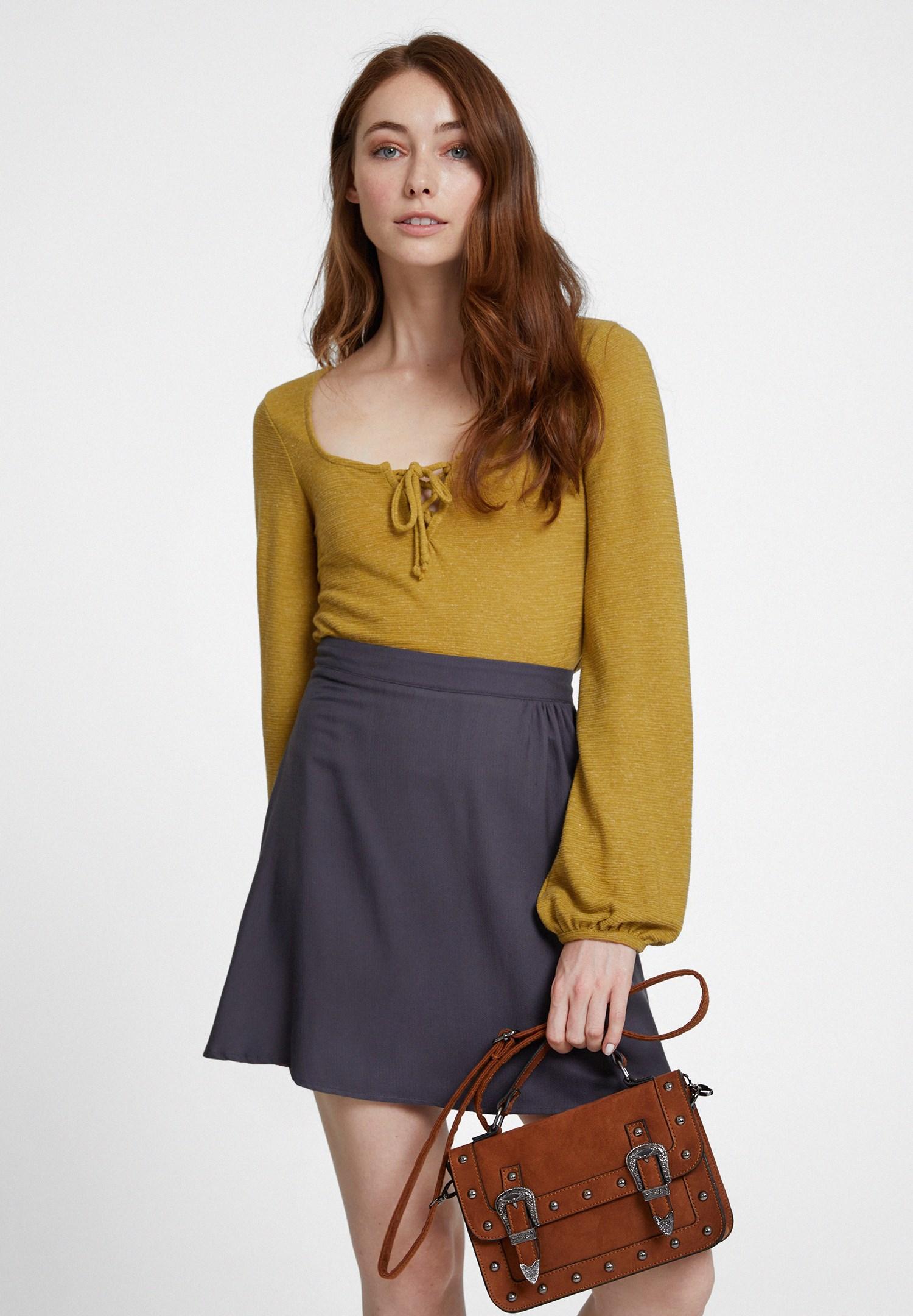Bayan Yeşil Yakası Bağlamalı Uzun Kol Detaylı Bluz